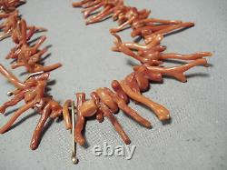 14k Gold Vintage Navajo Coral Native American Jewelry Necklace Old