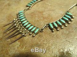 16 Vintage Zuni E ETSATE Sterling Silver PETIT POINT Turquoise Necklace