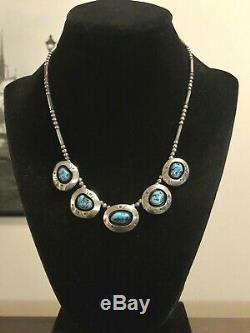 17 Vintage Navajo Sterling Silver Turquoise 5 Pendant Necklace Signed RG