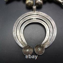 1890 1920 ANTIQUE NAVAJO Coin Silver SQUASH BLOSSOM Necklace TRIPLE NAJA