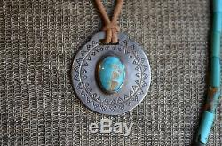 1920s Navajo Vintage Old Pawn Fred Harvey Watch Fob Silver Turquoise Necklace