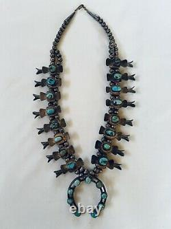 1930's Child Size Box Bow Sterling & Turquoise Squash Blossom Necklace 19 inches