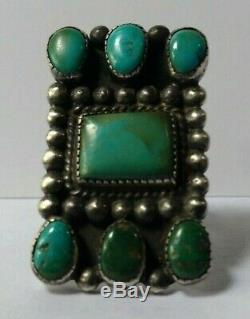 1930's Vintage Navajo Indian Silver Multi Blue Green Turquoise Ring Size 6