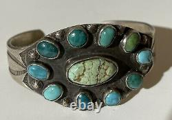1930's Vintage Navajo Indian Silver Multi Turquoise Cuff Bracelet