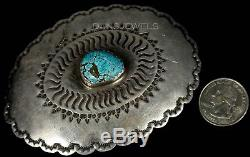 1960s Old Pawn Vintage NAVAJO Sterling Natural Turquoise Belt Buckle by CA WIN