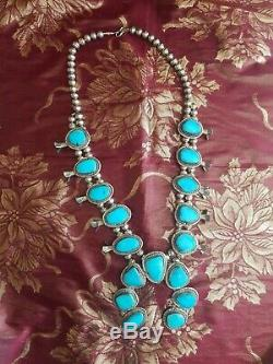 1970's Vintage Navajo Sleeping Beauty Turquoise Squash Blossom Necklace