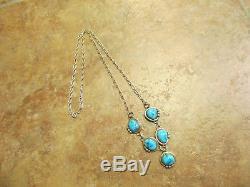 22 Splendid Vintage Navajo Sterling Silver KINGMAN Turquoise Necklace
