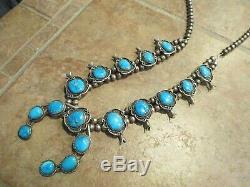 27 Delightful Vintage Navajo Sterling BISBEE Turquoise SQUASH BLOSSOM Necklace