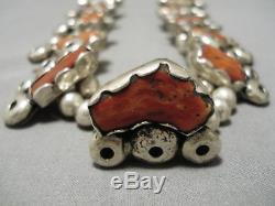 283 Gram Vintage Navajo Coral Sterling Silver Squash Blossom Necklace Old