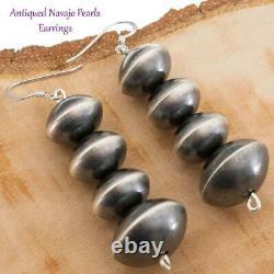 2.5 Native American Earrings NAVAJO PEARLS Antiqued Sterling Silver 14-18mm