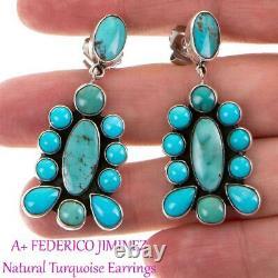 2 FEDERICO JIMENEZ Earrings Natural TURQUOISE Sterling Silver Cluster Dangles
