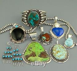 36 Pc LOT 7 mm NAVAJO Old Pawn BENCH BEADS Charm STERLING SILVER Pearl Vintage