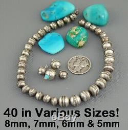 36 Pc. LOT 8 mm Large NAVAJO Old Pawn BENCH BEADS Charm STERLING Pearl Vintage