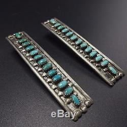 3 LONG Signed Vintage NAVAJO Sterling Silver & TURQUOISE Needlepoint EARRINGS