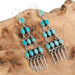 3 Navajo Turquoise Earrings Carico lake Sterling Silver LONG Dangles Chandelier