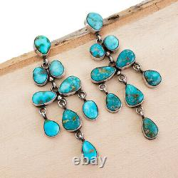 3 Navajo Turquoise Earrings NATURAL Sterling Silver LONG Dangles Eleanor Largo