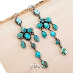 4.5 Navajo Turquoise Earrings NATURAL Sterling Silver LONG Dangles Eleanor Larg
