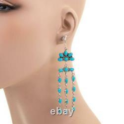 4 Earrings TURQUOISE Sterling Silver Dangles Chandelier ZUNI XLONG Old Style