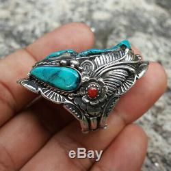 925 Silver Blue Turquoise Ring Men Women Vintage NAVAJO American Indian