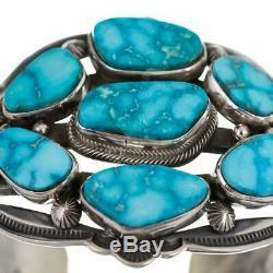 AARON TOADLENA Turquoise Bracelet Cuff Sterling SIlver Waterweb Kingman Cluster