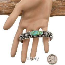 ALBERT JAKE Turquoise Bracelet SONORAN GOLD Sterling Silver Navajo Old Stl MENS