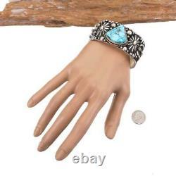 ALBERT JAKE Turquoise Bracelet Sterling Silver MENS Large Spiderwebbed Cuff