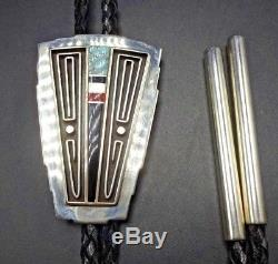 ALBERT NELLS Vintage NAVAJO Sterling Silver & TURQUOISE Channel Inlay BOLO Tie