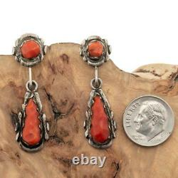 ALICE QUAM Coral Earrings Sterling Silver CORAL Dangles Hand Carved Vintage OLD