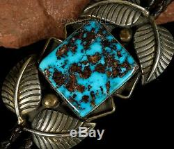 AMAZING YELLOWHORSE Old Pawn Vintage NAVAJO Morenci Turquoise Sterling Bolo Tie