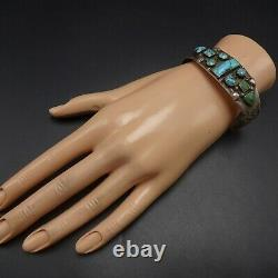 ANTIQUE 1890s to 1910s NAVAJO Hand-Stamped TURQUOISE INGOT Silver Cuff BRACELET