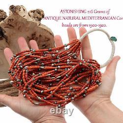 A+ Antique Coral Bead Necklace AUDIE YAZZIE Natural Mediterranean 216 Gm Navajo