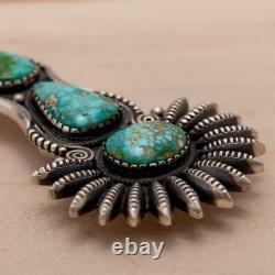 A+ CALVIN MARTINEZ Squash Blossom Necklace Pendant SONORAN GOLD Turquoise XXL