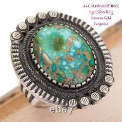 A+ CALVIN MARTINEZ Turquoise Ring SONORAN GOLD Totem 9 Sterling Silver INGOT