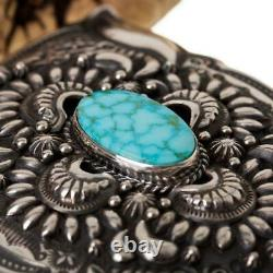 A+ DARRYL BECENTI Belt Buckle Sterling Silver KINGMAN TURQUOISE Navajo Concho