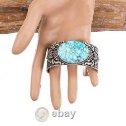 A+ KINGMAN WEB Turquoise Bracelet Sterling Silver T. WHITE Natural Spiderweb