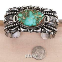 A+ Navajo Turquoise Bracelet Sterling Silver DELBERT GORDON Natural ROYSTON 125G