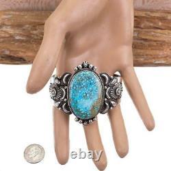 A+ Navajo Turquoise Bracelet Sterling Silver DERRICK GORDON Indian Mt Spiderweb