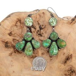 A+ SONORAN GOLD Turquoise Earrings Big Navajo Cluster Sterling Silver Vintage Sl