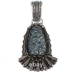 A+ Squash Blossom Necklace Pendant Calvin Martinez NEW LANDER Turquoise Blue Web