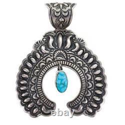 A+ Squash Blossom Necklace Pendant NAJA Turquoise Navajo DARRYL BECENTI Kingman