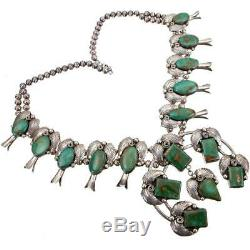 A+ Squash Blossom Necklace XL ROYSTON TURQUOISE Sterling Silver Old Pawn Vintage