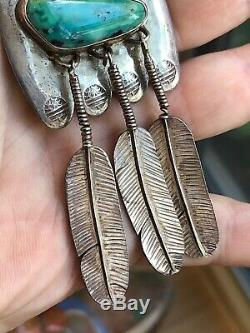 A+ Vintage Navajo Southwest Necklace Sterling Silver & Turquoise & Coral