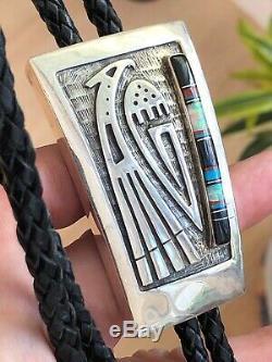 A+ Vintage Signed Hopi Inlay & Silver Thunderbird Bolo Tie Pendant
