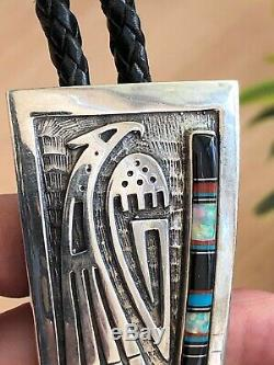 A+ Vintage Signed Hopi Inlay & Silver Thunderbird Bolo Tie Pendant