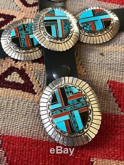 A+ Vintage Zuni / Navajo Sterling Silver & Channel Inlay Concho Belt & Buckle