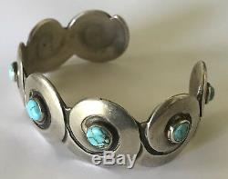 Allen Kee White Hogan Vintage Sterling Silver Turquoise Cuff Bracelet