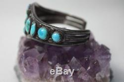 Amazing Old Vintage Pawn BISBEE Turquoise & Silver Navajo Bracelet Cuff 1940's
