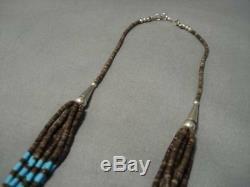 Amazing Vintage Navajo Sky Blue Turquoise Sterling Silver American Necklace