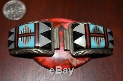 Amazing Vintage ZUNI Sterling Silver & Turquoise Inlay Watch Band Tips. 925