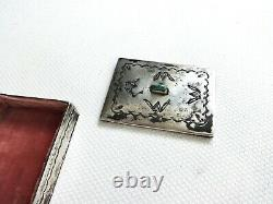 Antique 1800's Navajo Stamped Sterling Silver Turquoise Lidded Snuff Box